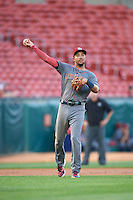 Lehigh Valley IronPigs shortstop J.P. Crawford (3) throws to first during a game against the Buffalo Bisons on August 29, 2016 at Coca-Cola Field in Buffalo, New York.  Buffalo defeated Lehigh Valley 3-2.  (Mike Janes/Four Seam Images)
