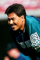 Dennis Martinez of the Seattle Mariners during a game at Anaheim Stadium in Anaheim, California during the 1997 season.(Larry Goren/Four Seam Images)