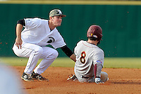 Shortstop Daniel Fickas (26) of the University of South Carolina Upstate Spartans tags out Babe Thomas of the Winthrop Eagles trying to steal second in a game on Wednesday, March 4, 2015, at Cleveland S. Harley Park in Spartanburg, South Carolina. Upstate won, 12-3. (Tom Priddy/Four Seam Images)