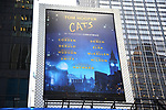 "Times Square Billboard for ""Cats"" the 2019 musical fantasy film based on the stage musical by Andrew Lloyd Webber on December 11, 2019 in New York City."