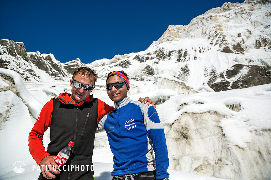 Ueli Steck returned to Nepal and the Annapurna south face in 2013 which he climbed solo, without oxygen, in one 28 hour alpine push, via a new route. The trip was his third attempt to climb the 8000 meter peak. Ueli with his good, Nepalese Tenji Sherpa.