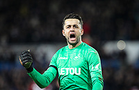 Goalkeeper Lukasz Fabianski of Swansea City  celebrates at full time during the Premier League match between Swansea City and Liverpool at the Liberty Stadium, Swansea, Wales on 22 January 2018. Photo by Mark Hawkins / PRiME Media Images.