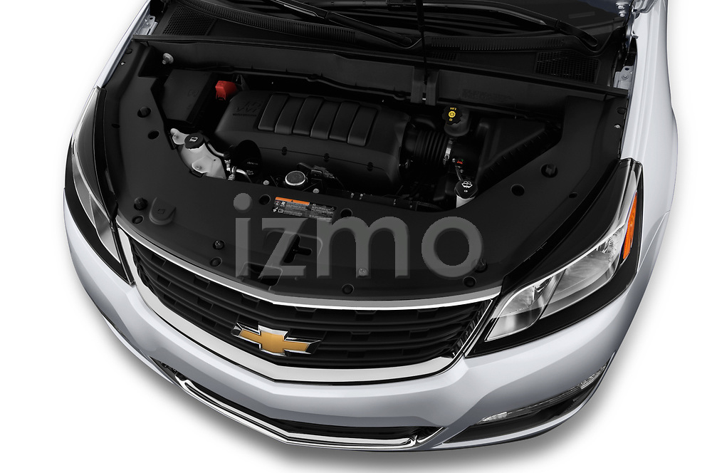 Car Stock 2017 Chevrolet Traverse LS-FWD 5 Door SUV Engine  high angle detail view
