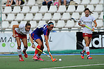 Mannheim, Germany, September 27: During the 1. Bundesliga Damen Saison 2014/15 field hockey match between Mannheimer HC and TSV Mannheim on September 27, 2014  Mannheimer Hockey Club in Mannheim, Germany. Final score 3-3 (2-3). (Photo by Dirk Markgraf / www.265-images.com) *** Local caption *** Laura Keibel #17 of TSV Mannheim, Nikki Kidd #26 of Mannheimer HC, Pauline Wenzel #24 of TSV Mannheim