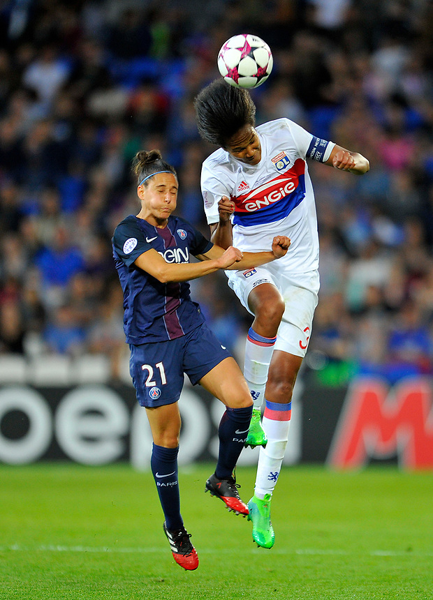 Olympique Lyonnais' Wendie Renard in action <br /> <br /> Photographer Ashley Crowden/CameraSport<br /> <br /> UEFA Women's Champions League Final - Lyon Women v Paris Saint-Germain Women - Thursday 1st June 2017 - Cardiff City Stadium<br />  <br /> World Copyright &copy; 2017 CameraSport. All rights reserved. 43 Linden Ave. Countesthorpe. Leicester. England. LE8 5PG - Tel: +44 (0) 116 277 4147 - admin@camerasport.com - www.camerasport.com