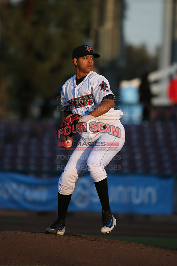 Jose Rodriguez (41) of the Inland Empire 66ers pitches against the San Jose Giants at San Manuel Stadium on April 8, 2017 in San Bernardino, California. (Larry Goren/Four Seam Images)