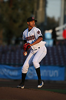 Jose Rodriguez (41) of the Inland Empire 66ers pitches against the San Jose Giants at San Manuel Stadium on April 8, 2017 in San Bernardino, California. (Larry Goren/Four Seam Images)