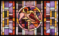 Detail of the seven stained glass windows of the absid, by Louis Barillet, 20th century, Nanterre Cathedral (Cathédrale Sainte-Geneviève-et-Saint-Maurice de Nanterre), 1924 - 1937, by architects Georges Pradelle and Yves-Marie Froidevaux, Nanterre, Hauts-de-Seine, France. Every window describes with three symbols one scene of the Passion : the Eucharist, Agony in the Garden, the Sanhedrin trial of Jesus (Christ Before Caiaphas), Pilate's court, crucifixion of Jesus, the entombment of Christ, the Resurrection of Christ.  Picture by Manuel Cohen