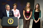United States President George W. Bush claims victory at the  at the Ronald Reagan International Trade Center in Washington, D.C.  on November 3, 2004.  The President won a second term in a hard-fought campaign against United States Senator John F. Kerry (Democrat of Massachusetts) that attracted a record turn-out of voters.<br /> Credit: Ron Sachs / CNP