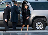 Former First Lady Laura Bush arrives for the delivery of  the casket of President George. H. W. Bush to the Capitol Rotunda in Washington, DC where he will lie state, December 3, 2018. Credit: Chris Kleponis / CNP