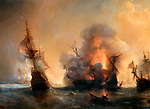 The Naval Battle of Lagos on 27 June 1693 by Gudin, Theodore (1802-1880) / Musee de l'Histoire de France, Chateau de Versailles / 1839 / France / Oil on canvas / History / 105x142 / Maritime art