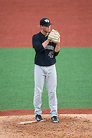 Wake Forest Demon Deacons relief pitcher Griffin Roberts (43) looks to his catcher for the sign against the Charlotte 49ers at Hayes Stadium on March 16, 2016 in Charlotte, North Carolina.  The 49ers defeated the Demon Deacons 7-6.  (Brian Westerholt/Four Seam Images)