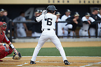 Michael Turconi (6) of the Wake Forest Demon Deacons at bat against the Sacred Heart Pioneers at David F. Couch Ballpark on February 15, 2019 in  Winston-Salem, North Carolina.  The Demon Deacons defeated the Pioneers 14-1. (Brian Westerholt/Four Seam Images)