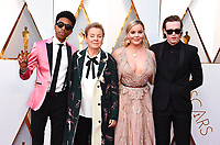 Darrell Britt-Gibson, from left, Sandy, Martin, Abbie Cornish, and Caleb Landry Jones arrive at the Oscars on Sunday, March 4, 2018, at the Dolby Theatre in Los Angeles. (Photo by Jordan Strauss/Invision/AP)