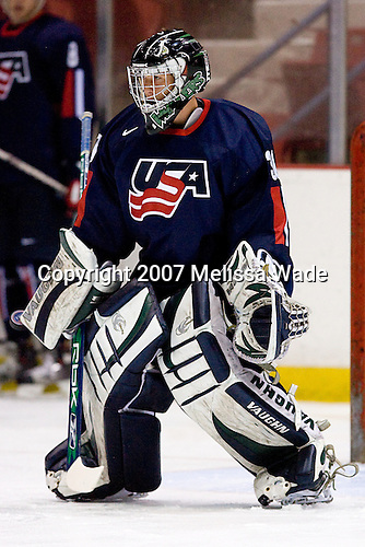 Jeremy Smith (US/Plymouth Whalers - Brownstown, MI) takes part in warmups.USA Hockey puts on a national junior evaluation camp each August to help determine members of the US Under-20 team for the World Juniors tournament and invites enough players to make up two teams, Team White and Team Blue.  The two teams scrimmage twice prior to playing Finland and Sweden and in their second meeting on Monday, August 6, 2007, Team White defeated Team Blue 4-3 at the 1980 Rink in Lake Placid, New York.