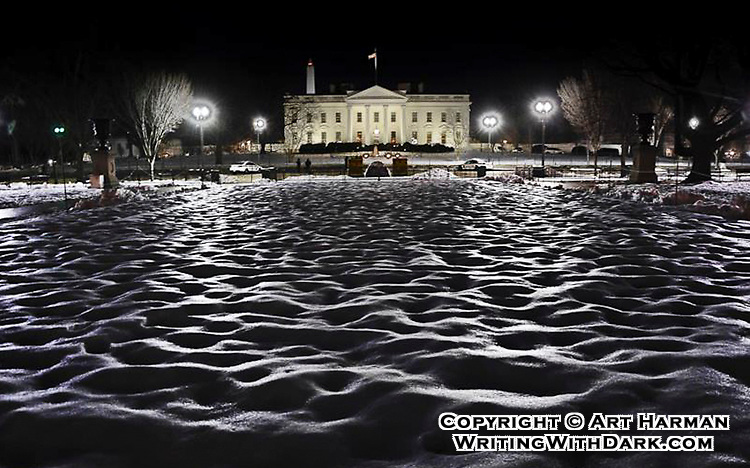 """""""Icy Waves at the White House"""" by Art Harman. One night after a big snowstorm and some refreezing,  saw the incredible wavy texture and reflections in Lafayette Park, with the White House in the background."""