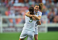 Houston, TX. - February 21, 2016: The U.S. Women's National team go up 2-0 over Canada during second half play in the 2016 Women's Olympic Qualifying Championship match at BBVA Compass Stadium.