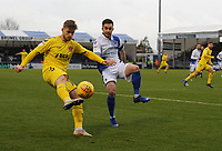 Fleetwood Town's Conor McAleny under pressure from Bristol Rovers' Michael Kelly<br /> <br /> Photographer Kevin Barnes/CameraSport<br /> <br /> The EFL Sky Bet League One - Bristol Rovers v Fleetwood Town - Saturday 22nd December 2018 - Memorial Stadium - Bristol<br /> <br /> World Copyright © 2018 CameraSport. All rights reserved. 43 Linden Ave. Countesthorpe. Leicester. England. LE8 5PG - Tel: +44 (0) 116 277 4147 - admin@camerasport.com - www.camerasport.com