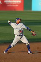 Franklin Barreto (10) of the Stockton Ports makes a throw during a game against the Rancho Cucamonga Quakes at LoanMart Field on June 13, 2015 in Rancho Cucamonga, California. Stockton defeated Rancho Cucamonga, 14-2. (Larry Goren/Four Seam Images)