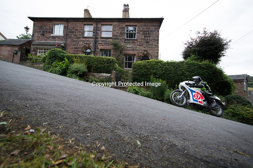16/07/17<br /> <br /> WITH VIDEO:    <br /> <br /> https://youtu.be/gg1i_IwnOQA   .<br /> <br /> Competitors in classic cars charge up an impossibly steep gradient on Carr Bank, in Oakamoor, as they re-create a hill climb known as the Cotton Run that was held in the Staffordshire village in 1906.<br />  <br /> All Rights Reserved F Stop Press Ltd. (0)1773 550665 www.fstoppress.com