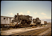 #483 K-36 on flat car. Wheels removed. Sangre de Cristo mts in background.<br /> D&amp;RGW