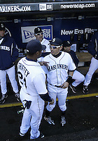 04 October 2009: Seattle Mariners #24 Ken Griffey Jr and #51 Ichiro Suzuki chat in the dug out before the game against the Texas Rangers. Seattle won 4-3 over the Texas Rangers at Safeco Field in Seattle, Washington.