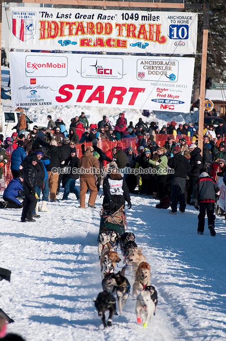 2010 Iditarod Re-start in Willow Alaska musher # 60 TRENT HERBST.