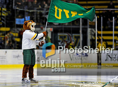 16 November 2008: University of Vermont Catamount mascot Rally Cat waves the UVM flag banner prior to to a game against the visiting Merrimack College Warriors at Gutterson Fieldhouse, in Burlington, Vermont. The Catamounts defeated the Warriors 2-1 in front of a near-capacity crowd of 3,813...Mandatory Photo Credit: Ed Wolfstein Photo