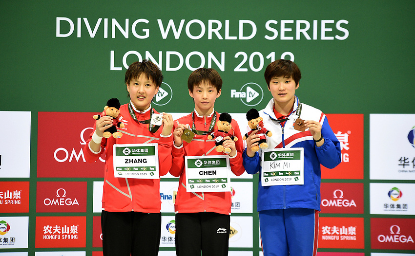 Women's 10m Platform medallists Rae Mi Kim (Bronze) Minjie Zhang (Silver) and Yuxi Chen (Gold)<br /> <br /> Photographer Hannah Fountain/CameraSport<br /> <br /> FINA/CNSG Diving World Series 2019 - Day 1 - Friday 17th May 2019 - London Aquatics Centre - Queen Elizabeth Olympic Park - London<br /> <br /> World Copyright © 2019 CameraSport. All rights reserved. 43 Linden Ave. Countesthorpe. Leicester. England. LE8 5PG - Tel: +44 (0) 116 277 4147 - admin@camerasport.com - www.camerasport.com