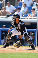 Toronto Blue Jays JP Arencibia #9 during a Spring Training game vs the Detroit Tigers at Florida Auto Exchange Stadium in Dunedin, Florida;  February 26, 2011.  Detroit defeated Toronto 4-0.  Photo By Mike Janes/Four Seam Images
