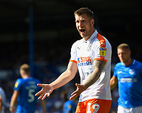 James Collins of Luton Town has a few words for his team mates during Portsmouth vs Luton Town, Sky Bet EFL League 1 Football at Fratton Park on 4th August 2018