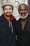 "Lin-Manuel Miranda and BeBe Winans backstage after a Song preview performance of the Bebe Winans Broadway Bound Musical ""Born For This"" at Feinstein's 54 Below on November 5, 2018 in New York City."