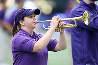 03 September 2016:  Washington band members entertained fans before the game against Rutgers at the University of Washington in Seattle, WA.