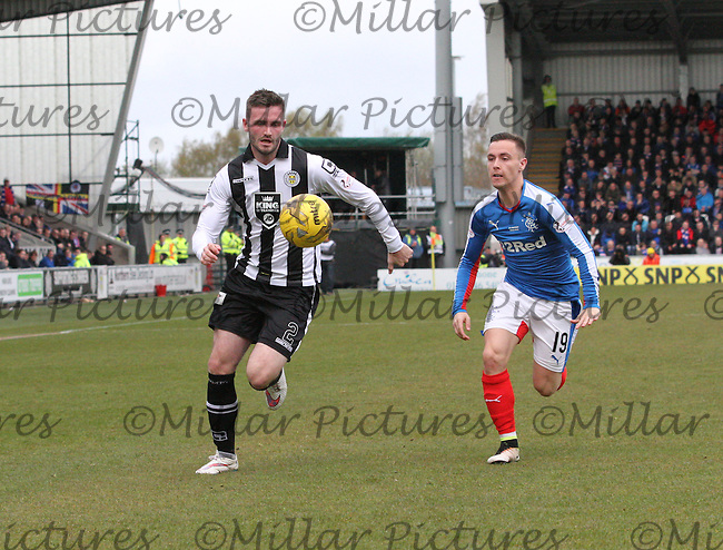 Jason Naismith gets round Barrie McKay in the St Mirren v Rangers Scottish Professional Football League Ladbrokes Championship match played at the Paisley 2021 Stadium, Paisley on 1.5.16.