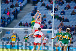 Barry Mahony Kerry in action against Paddy Quigg Derry in the All-Ireland Minor Footballl Final in Croke Park on Sunday.