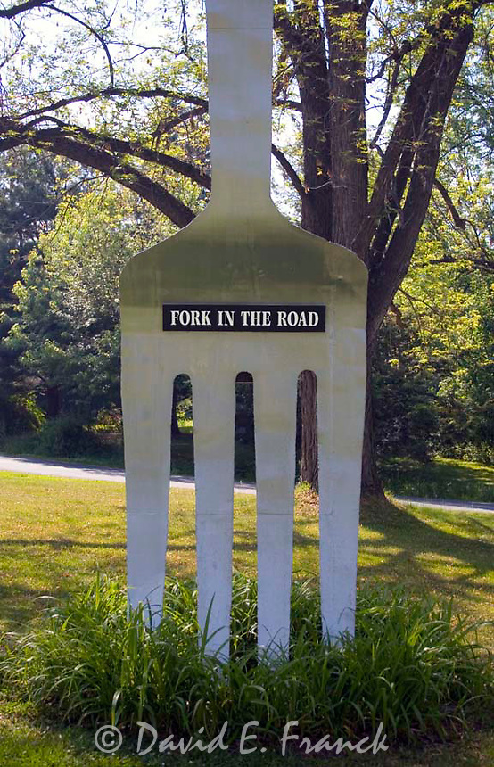 Fork In The Road sculpture at an intersection in Red Hook, New York.