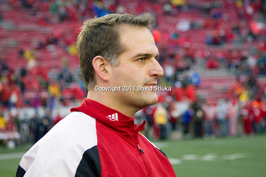 Wisconsin Badgers assistant coach Joe Rudolph looks on during warmups prior to an NCAA Big Ten Conference college football game against the Penn State Nittany Lions on November 26, 2011 in Madison, Wisconsin. The Badgers won 45-7. (Photo by David Stluka)