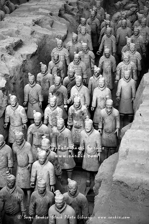 The Terracotta Army, an ancient collection of sculptures depicting the armies of Qin Shi Huang, the First Emperor of China, in Xi'an, Shaanxi, China.