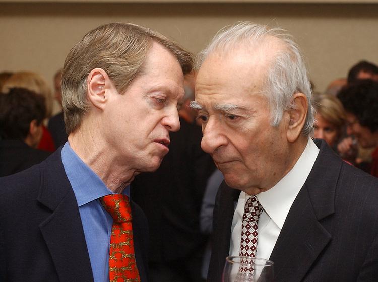 Jim Steer and Haig Chekenian at retirement party for Harvey Aronson at the Huntington Hilton in Melville on Thursday January 20, 2005. (Photo copyright Jim Peppler 2005).