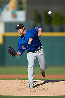 Durham Bulls starting pitcher Kyle Bird (35) delivers a pitch to the plate against the Charlotte Knights at BB&T BallPark on July 4, 2018 in Charlotte, North Carolina. The Knights defeated the Bulls 4-2.  (Brian Westerholt/Four Seam Images)