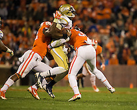 The eighth ranked Clemson Tigers defeat the Georgia Tech Yellow Jackets at Death Valley 55-31 in an ACC matchup.  Georgia Tech Yellow Jackets quarterback Vad Lee (2), Clemson Tigers linebacker Stephone Anthony (42), Clemson Tigers linebacker Quandon Christian (34)