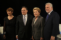 March 20, 2014 - Debate between all 4 party leaders (L-R) :<br /> Francoise David , Quebec Solidaire,<br /> Francois Legeault, Coalition Avenir Quebec,<br /> Pauline Marois, Parti Quebec and<br /> Philippe Couillard, Liberal Party of Quebec.<br /> <br /> Quebec provincial election will be held April 7, 2014.<br /> <br /> <br /> Photo : Pierre Roussel