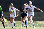 23 October 2016: Notre Dame's Kaleigh Olmsted (27) is chased by Wake Forest's Kate Ravenna (left) and Caroline Wootten (right). The Wake Forest University Demon Deacons hosted the University of Notre Dame Fighting Irish at Spry Stadium in Winston-Salem, North Carolina in a 2016 NCAA Division I Women's Soccer match. Notre Dame won the game 1-0.