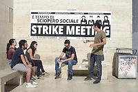 Roma, 12 Settembre 2014<br /> Facolt&agrave; Lettere, La Sapienza.<br /> Primo incontro della tre giorni del meeting per l'organizzazione di uno sciopero sociale in tutta Europa.<br /> Contro le politiche di austerit&agrave;, contro la precariet&agrave; e la disoccupazione di massa, per il welfare, per il diritto alla citt&agrave; e per i beni comuni.<br /> Rome, 12 September 2014 <br /> La Sapienza University. <br /> First meeting of the three-day meeting for the organization of a social strike across Europe. <br /> Against the policies of austerity, against insecurity and mass unemployment, for welfare, the right to the city and for the common good.