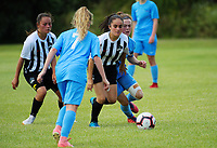 Action from the 2018 New Zealand Age Group Football Championships Under-14 Girls match between Southern and Northern (black & white) at Memorial Park in Petone, Wellington, New Zealand on Thursday, 13 December 2018. Photo: Dave Lintott / lintottphoto.co.nz
