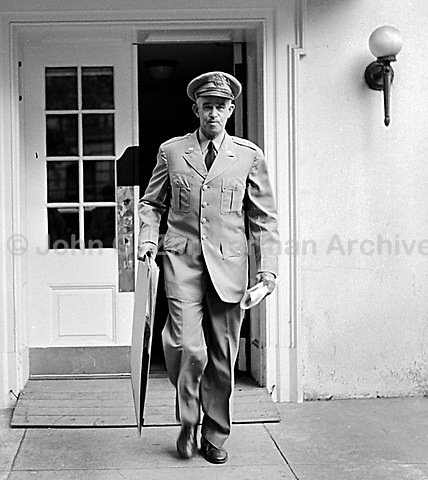 General Omar Bradley leaves White House after meeting with President Truman,  Washington D.C. 1950. CREDIT: JOHN G. ZIMMERMAN