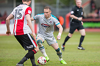 Ben Davies of Grimsby takes on William Boyle of Cheltenham Town during the Sky Bet League 2 match between Cheltenham Town and Grimsby Town at the The LCI Rail Stadium,  Cheltenham, England on 17 April 2017. Photo by PRiME Media Images / Mark Hawkins.