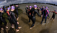 20 JUL 2008 - MANLEY, UK - Competitors head for the swimstart - Deva Divas Triathlon. (PHOTO (C) NIGEL FARROW)