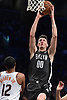 Rodions Kurucs #00 of the Brooklyn Nets makes a slam dunk for two points during the second quarter of an NBA game against the Phoenix Suns at the Barclays Center in Brooklyn, NY on Sunday, Dec. 23, 2018. The Nets won by a score of 111-103.