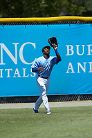 Burlington Royals left fielder Montae Bradshaw (6) settles under a fly ball during the game against the Greeneville Reds at Burlington Athletic Stadium on July 8, 2018 in Burlington, North Carolina. The Royals defeated the Reds 4-2.  (Brian Westerholt/Four Seam Images)
